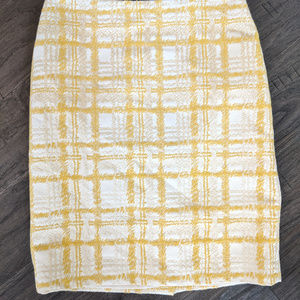 Talbots Xs 2 P Mustard Yellow plaid Pencil Skirt